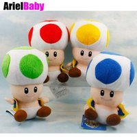 "Wholesale Super Mario Plush Toys Toad - ArielBaby 1 PCS Super Mario Bros Mushroom Toad Plush Doll Kids Toys Approx 7"" Free Tracking Red Blue Yellow Green"