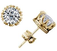 nouveaux bijoux tchèques achat en gros de-Marque Nouvelle Couronne De Mariage Boucles D'oreilles 925 Argent Plaqué Or Zircon CZech Diamant Boucles D'oreilles De Fiançailles Bijoux
