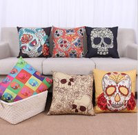 Wholesale Skull Printed Pillow Cases Hot Sale fashion sofa cushion covers CM Vintage Cushion Cover Skull Pillow Case gift Home Textiles D70