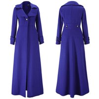 Wholesale Womens Coat Xl Elegant - S5Q Womens Elegant Slim Autumn And Winter Wool Blend Jacket Long Trench Coat AAAFSR