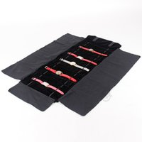 Wholesale Roll Up Displays - All Black Velvet Portable Watch Bracelet Jewelery Roll Up Bag Package Jewelry Display Holder Pouch for Wrist Watch Travel Bag