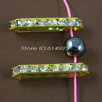 Wholesale Spacer Bars For Jewelry - Gold Plated 35mm*9mm 5 Hole Jewelry Connector Clear Crystal Rhinestone Jewelry Spacer Bar For Bracelet Necklace 032103