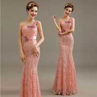 Wholesale Elegant Luxury Embroidery - 2015 new fashion one-shoulder mermaid formal evening dress luxury appliques retro embroidery sexy lace elegant dinner party prom dresses