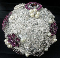 Wholesale Luxury Purple Bridal Bouquets - 2016 New Hot Sale Luxury Purple Diamond Bridal Bouquets Wedding Artificial Flower Pearls Bridesmaid Originality Fine Rose Free Shipping