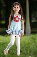 çocuklar renginde tozluklar toptan satış-Pettigirl Perakende çocuklar yaz giysileri kız Setleri 3D Çiçek Kız Fırfır Üst Ve Tozluk Moda Çocuklar Giysi Tasarımcısı CS80630-8