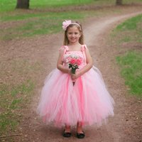 Wholesale Little Girls Ballgown Dresses - Little Girls Ballgown Dresses Spaghetti Straps Flower Girls' Dresses Tutu Kids Wedding Dresses
