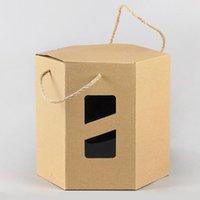 Wholesale Large Wedding Favor Boxes - 24*24*22cm Large Hexagon Kraft Paper Box For Boutique Gift Packaging Box Wedding Party Favor Gift Packing Boxes ZA5128
