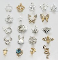 Wholesale Diamond Tips Nails - Nail Art Accessories 3D Metallic Rhinestones Crystal Nail Art Tips Studs Shiny Phone Decor DIY Nail Stick Womens Alloy and Diamond Ornament