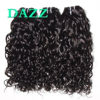 Wholesale Remy Raw Hair - DAZZ Natural Water Wave Hair 4 Bundles Raw Remy Brazilian Virgin Hair Water Wave Weave Bundles Deals Wet And Wavy Human Hairs Extensions