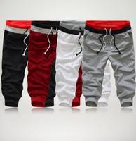 Wholesale Mens Capri Trousers - Hot Sale! Summer Style Fashion 4 Colors S-XXL Casual Loose Mens Sports Capri Cropped Short Pants Sweatpants Jogger Trousers D1011