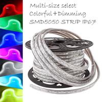 Wholesale Super Voltage - Super Bright 5050 SMD RGB LED Strip 220V- 240V High Voltage Tube type Waterproof 60leds M 50M Roll With PLUG