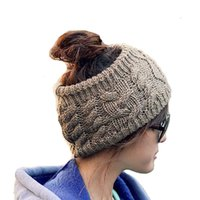 Wholesale Top Twist Hat - Lady Twisted Knitted Yarn HeadWraps Women's Winter Fashion Empty Top Hat Hair Accessories Headbands 6 Colors