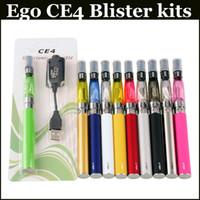 Wholesale electronic cigarette starter kit online - CE4 ego starter kit CE4 Electronic Cigarette Blister kits e cig mah mah mah EGO T battery blister case Clearomizer E cigarette