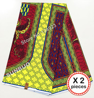 Wholesale Veritable Dutch Wax - New arrival 2 pieces Guaranteed veritable dutch real hollandais wax 100% african printed fabric Lemon yellow red
