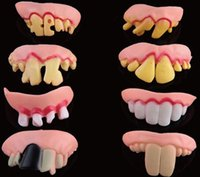 Wholesale Funny Goofy Fake Rotten tooth Teeth Halloween Party decoration Favor Creepy Dentures Horror toys