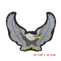 Wholesale Eagle Embroidered Patches - 23.5cm High Biker Iron On Patch Eagle Motorcycle Embroidered Patches Badge Appliques Back Patch For Jacket