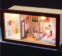Al por mayor-3D LUZ Dollhouse LED miniaturas romántica Full House grande Frame