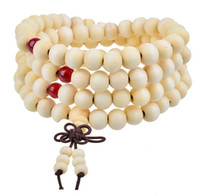Wholesale wood rosary beads - 108*8MM Fashion Sandalwood Buddhist Buddha bracelets Meditation Prayer Bead Bowknot Bracelet lucky charm bracelet Rosary beaded bracelet