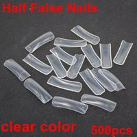 Wholesale Nail Wrap High Quality - High quality 500pcs 10 sizes clear color half false nails acrylic nails Nail Art Design wrap Tips