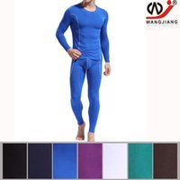 Wholesale Thermal Black Tights - WJ Winter Man Thermal Underwear Long Johns Set Tops&Bottoms Long Sleeve Tops Tight Pant Man Leggings Underclothes Blue W3004-SY CKU