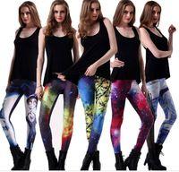 Wholesale Spandex Tight Pants Sexy Women - Leggins women Digital printing pants for ladies wholesale and retail multicolor sexy leggings Fashion women tights leggings tight pants