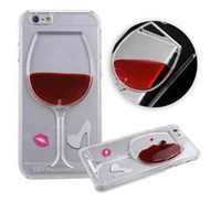 Wholesale Plastic Cocktail - Case For iPhone 6 6S Hot Red Wine Glass Cocktail beer Liquid Quicksand Transparent Phone Case Hard Back Cover