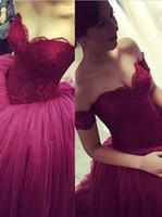 Wholesale Short Bridal Ball Gowns - 2016 Vintage Lace Wedding Dresses Ball Gowns Sweetheart Backless Tiers Tulle Burgundy Arabic Vestido De Novia Custom Garden Bridal Gowns