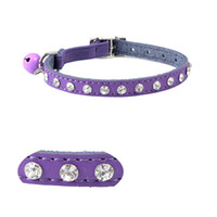 Wholesale Diamante Belts - Free Shipping Crystal Diamante Genuine Leather Cat Collars with Elastic Safety Belt and Bell many Colors Assorted