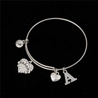 Myshape Cool Fashion Stainless Steel DIY Charms Diâmetro do bracelete 70mm Crystal Heart Limpar a letra acabada A Pulseira Bangle Pulseiras