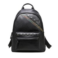 Wholesale Canvas Book Bags For Women - Lady Leather Backpacks for Women Simple Style School for Teenagers Casual Shoulder Bag Student Book Bag Rivet Backpacks