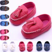 yürümeye başlayan kız prenses ayakkabı toptan satış-Bebek Kız Moccasins Prenses İlk Walker Ayakkabı Bebek Deri Prewalker Toddler Antiskid Püskül Parti Ayakkabı Çocuk Pageant Ayakkabı YW-S05