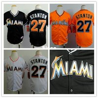 Wholesale Team Jerseys China - 30 Teams- 27 Giancarlo Stanton jersey youth kids baseball jersey custom Miami Marlins jerseys authentic cheap buy dirct from china S-XL
