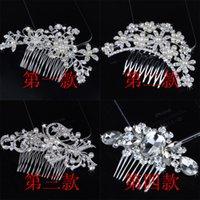 Wholesale Diamonds Hair Comb - Crystal Hair Comb Bridal Wedding Hair Jewelry 6 Styles Pearl Flower Rhinestone Tiaras Hair Accessories for Wedding Bride