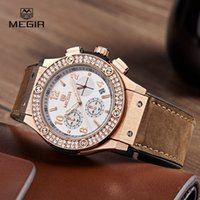 Atacado-Megir Fashion Waterproof Chronograph Stop Watch para Lover Mens Womens Luxury Leather Band Analog Quartz Relógios de pulso Calendário