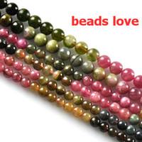 Wholesale Loose Tourmaline - Pick Size 4.6.8mm Natural Tourmaline Stone Round Loose Beads Free Shipping-F00190