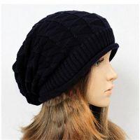 Wholesale Wholesale Woman Dress Wool Hats - 10pcs lot Keep Warm Fashion Women Hat Knitting Woolen Pattern Solid Black Blue Apricot Ladies Dress Hats