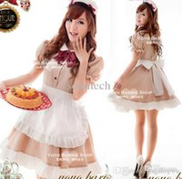 Wholesale Cute French Maid Costume - Wholesale-New Arrivall Coffee French Maid Cosplay Costume For Girls Cute Lolita Dress Halloween Costume Carnival Costume For Women