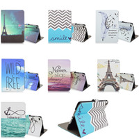 Wholesale Covers Para Ipad - For iPad Mini 4 Cases Fashion Eiffel Tower Stand Leather Cover Flower Flora Print Case For iPad Mini 4 Luxury Coque Capa Para