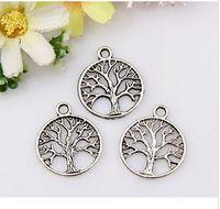 Wholesale pendant flower life - MIC Free Shipping 150PCS Tibetan Silver TREE DANGLE Tree of Life Circle Charms Pendant Jewelry DIY 20x24mm