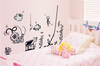 graphic animal classic Australia - Free Shipping Simple black and underwater world children's wall stickers living room bedroom environmental kids room decoration