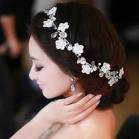 Wholesale White Flower Headbands - Handmade Lace Bridal Headdress Flower Head Flower Hair Ornaments Handmade Pearl Wedding Hair Band Korean Wedding Accessories