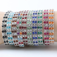 Wholesale Silver Chain Linked Rings - 12pcs lot Assorted of Colorful Spring Silver Plated 2-Rows Crystal Rhinestone Bracelets Tennis 10Colors Hot sell