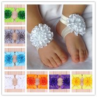 Wholesale Baby Foot Flowers Toddler - 40pcs Hot Toddler Baby Sandals Ribbon Flower Shoes Girl Barefoot Foot Flowers Ties Infant Children Kids First Walker Shoes Photography props