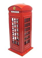 Wholesale New Model Telephone - Piggy Bank Red Telephone Booth Bank Souvenir Model Box Jar Money Coin Spare free shipping for the Like saving children Save money box