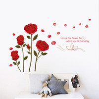 """Wholesale Red Roses Bedroom Wall Stickers - new fashion DIY """"Life is the flower for which love is the honey"""" Quote Red Rose Stickers Decal Living Room Home Decor w22"""