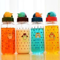 Wholesale Straw Owls - 4 pcs Lot water bottle Animal Owl portable cup Tasteless hermetic Drinking straw drinkware Novelty household Gift 8204