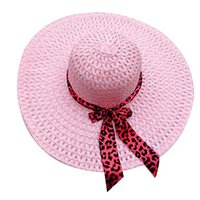 Wholesale Cheap Womens Wide Brim Hats - Wholesale-Cheap Women Plain Large Floppy Sun Hats Ladies Straw Wide Brim Hat Womens Summer Beach Caps Lady Big Brimmed Cap with Ribbon