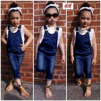 Wholesale Clothes Short Little Girl - girl denim clothing set t shirt pants set summer denim bib pants denim overalls little girls 2 piece clothing sets free shipping in stock