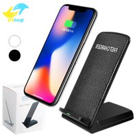 Wholesale Uk Desktops - Desktop Fast Qi Wireless Charger Holder Stand For Samsung S8 Plus Iphone 8 plus X Universal Fast Charger 3 Coils Pad 9V 1.67A 5V 2A