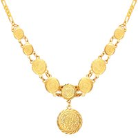 Wholesale Brass Coin Charms - New Beautiful Round Old Coin Pendant Necklace 18K Real Gold Plated Necklace Jewelry For Women MGC N882K